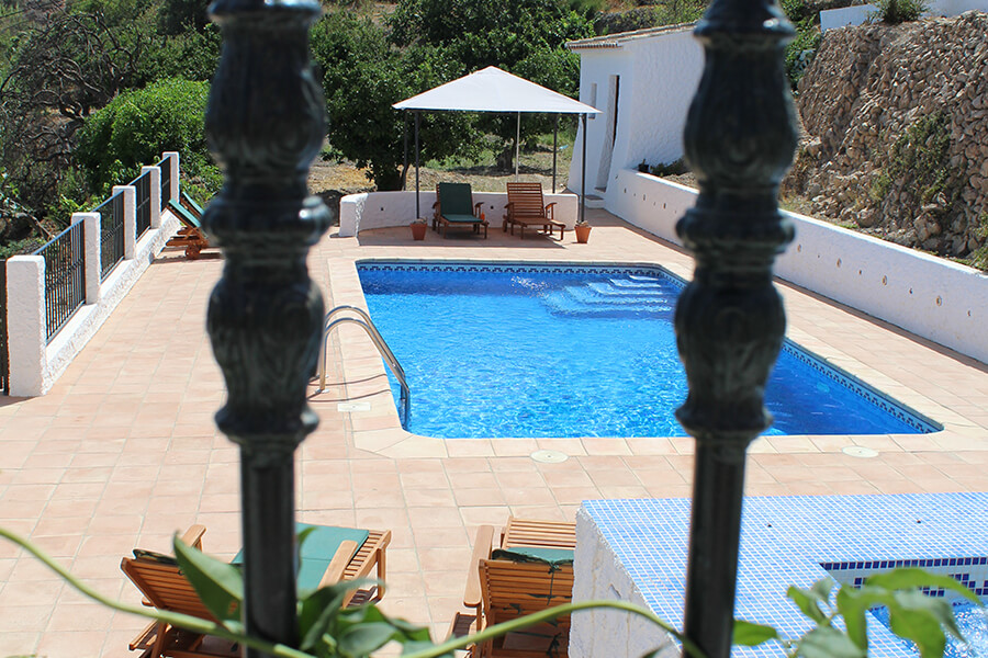 Private gated pool and jacuzzi with views to Bedar and the Siera Cabrera