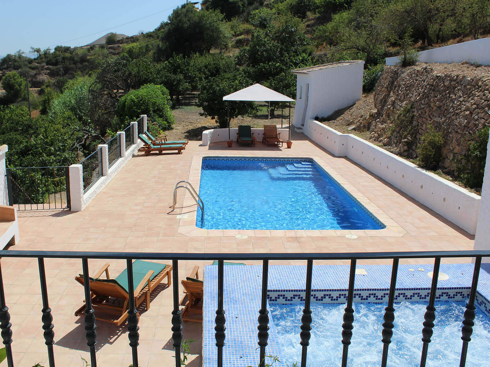 8m x 4m gated, private pool with sun loungers and spectacular views.